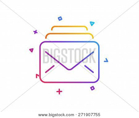 Mail line icon. New Messages correspondence sign. E-mail symbol. Gradient line button. Mail icon design. Colorful geometric shapes. Vector stock photo