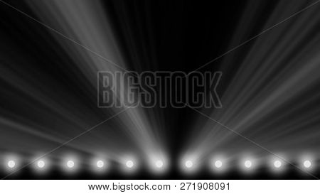 stage lights frame. Bright shiny stage lights flashing movement entertainment spotlight projectors in the dark, blue soft light spotlight strike on black background. Spotlights and lighting equipment for the theater. Multi-colored lights. stock photo