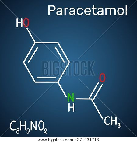 Paracetamol (acetaminophen) drug molecule. Structural chemical formula and molecule model on the dark blue background. Vector illustration stock photo