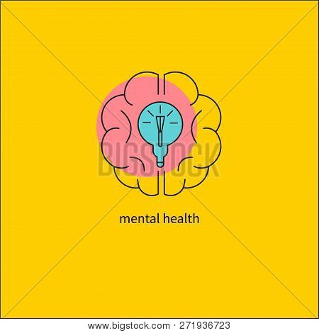 Mental activity of brain, line icon of brain and glowing bulb, outline symbol of creativity, solving business problems. Vector illustration stock photo