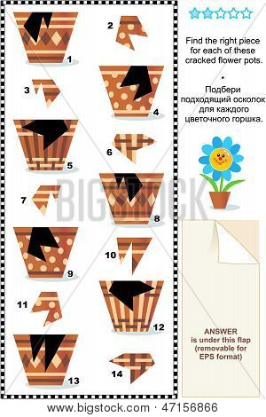 Visual puzzle or picture riddle: Find the right piece for each of the cracked flower pots. Answer included. stock photo