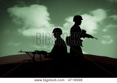 silhouettes of any Soldiers in back light stock photo