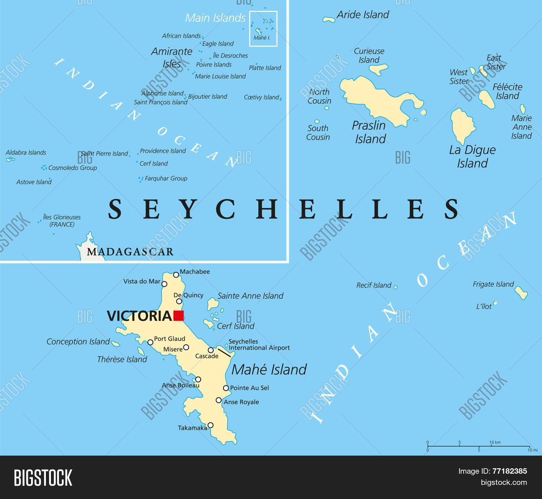 Seychelles Political Map 77182385 Image Stock Photo