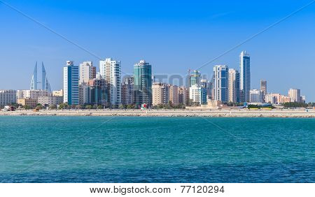 Modern office buildings and hotels in the sunny day. Skyline of Manama city Bahrain stock photo