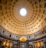 Interior of Rome Pantheon with the renowned beam of light from the top