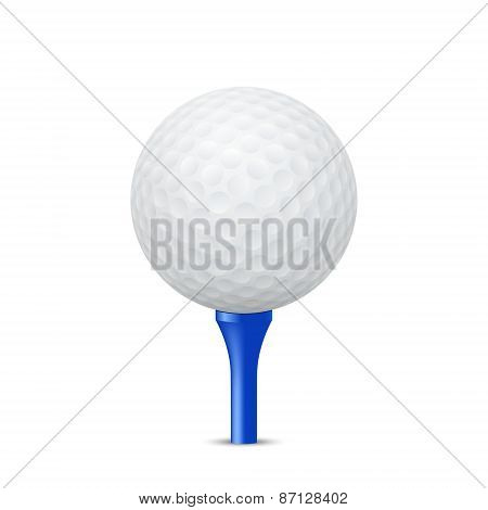 Golf Ball On A Blue Tee. Vector Illustration.
