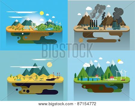 Ecology Concept Vector Icons Set for Environment, Green Energy and Nature Pollution Designs. Flat St