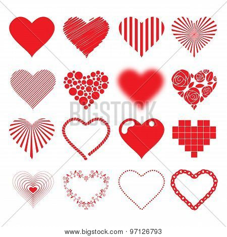 Different hearts icons set love passion valentines day design.