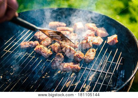 Grilling Delicious Variety Of Meat On Barbecue Charcoal Grill.