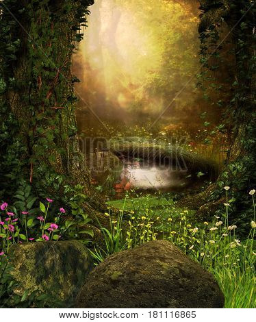 3D rendering of a view through an enchanted dark forest and a pond. stock photo