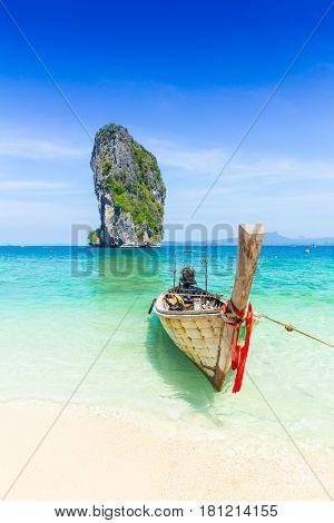 Thailand Summer Travel Sea, Thai Old Wood Boat At Sea Beach Krabi Phi Phi Island Phuket Park On Whit-Lg Fridge Magnet Skin (size 36x65)