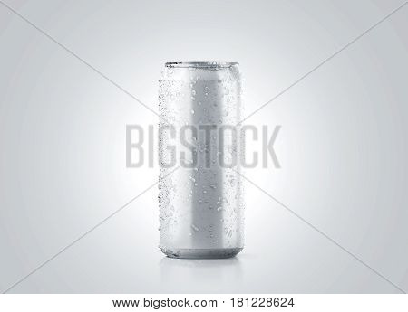 Blank big cold aluminium beer can mockup with drops 500 ml 3d rendering. Empty fresh soda tin packing mock up with condensate isolated. stock photo