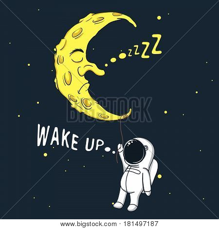 Cute little astronaut clings to sleeping moon and wakes him up.Childish fantasy illustration stock photo
