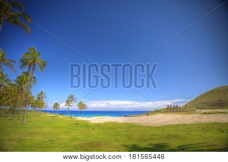 Anakena a white coral sand beach situated on the northern tip of Rapa Nui (Easter Island). stock photo