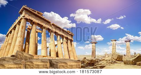 ruins of Parthenon temple of goddess Athena in Acropolis Athens, Greece ancient
