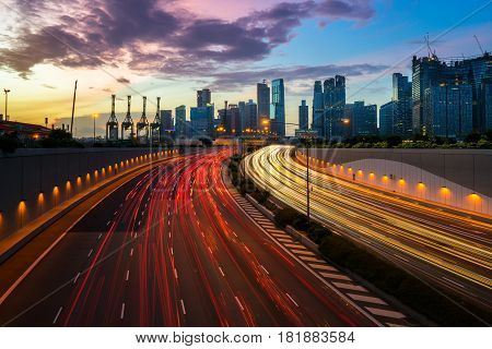 Night City Road With Traffic Headlight Motion In The City