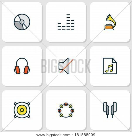 Music Colored Outlines Set. Collection Of Tambourine, Loudspeakers, Earphones And Other Elements. Also Includes Symbols Such As List, Tambourine, Gadget. stock photo