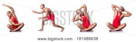 Young wrestler isolated on the white stock photo