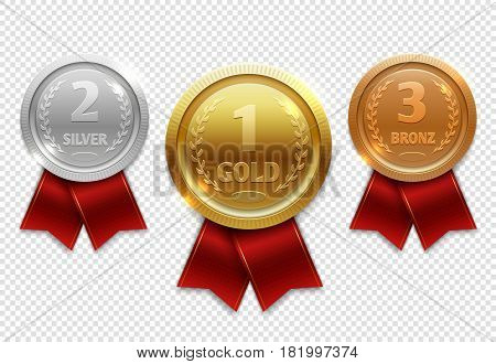 Champion gold, silver and bronze award medals with red ribbons. Medal gold award, illustration achievement medals