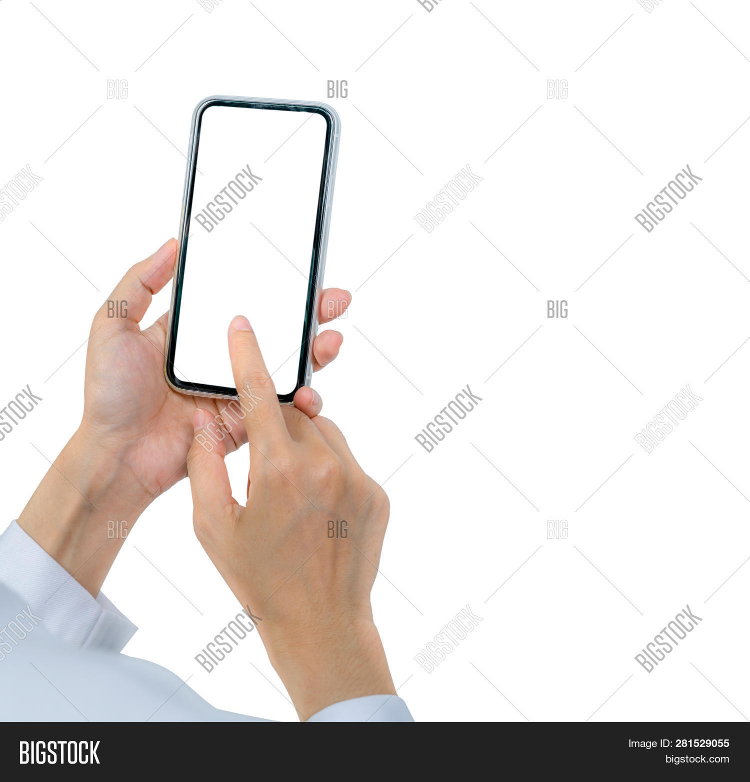 Woman's Hand Holding And Using Smartphone. Closeup Hand Touching Smartphone With Blank Screen Isolat