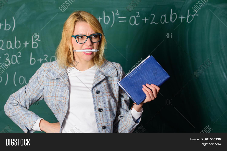 Inspiring Teacher Spark Motivation. Looking For Inspiration. Woman Hold Book Bite Pen Chalkboard Bac