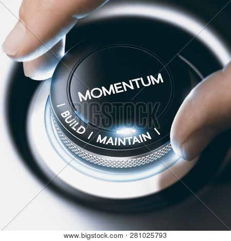 Man turning a switch button with two choices, build and maintain sales momentum. Concept image. Composite image between a hand photography and a 3D background. stock photo