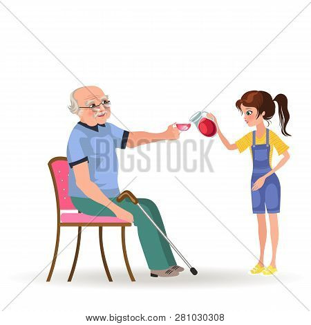girl takes care of grandfather, granddaughter bears senior gray-haired man sitting in wheelchair cup of tee stock photo