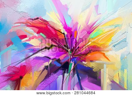 Abstract colorful oil, acrylic painting of spring flower. Hand painted brush stroke on canvas. Illustration oil painting floral for background. Modern art paintings flowers with yellow, red color. stock photo