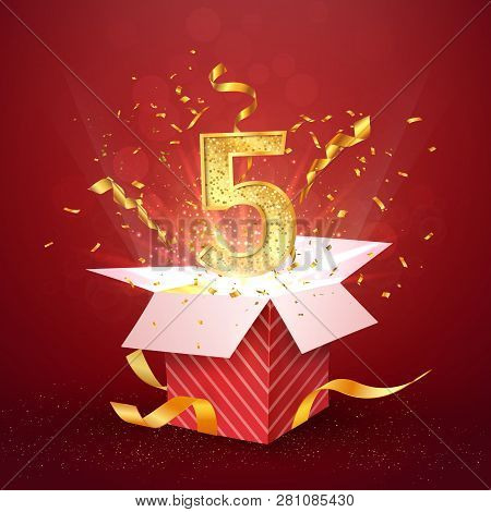 5 th year number anniversary and open gift box with explosions confetti isolated design element. Template five fifth birthday celebration on red background vector Illustration. stock photo