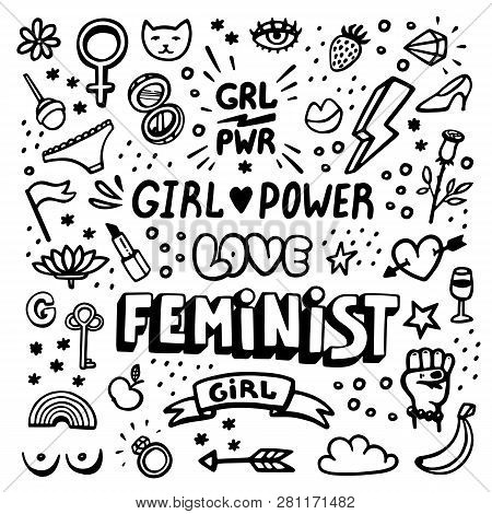 Feminism symbols icon set. Feminist movement, protest, girl power. Black and white Vector illustration. stock photo