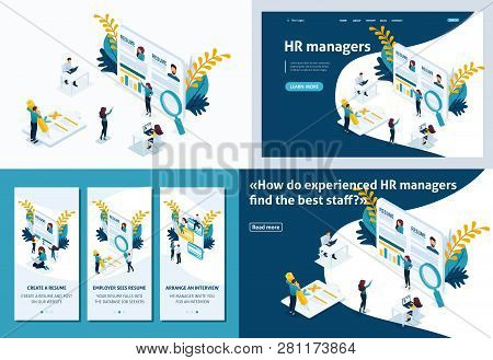 Set Template design article, Landing page, app design, Isometric concept The applicant is looking for a job, posting a resume, HR manager, interview with the employer. stock photo