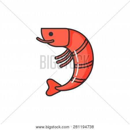 Allergy on seafood, isolated icon of allergen boiled cooked shrimp vector. Hypersensitivity and allergic reaction to meal of fish, sensitivity of body stock photo