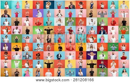 The Collage Of Faces Of Surprised People On Colored Backgrounds. Happy Men And Women Smiling. Human