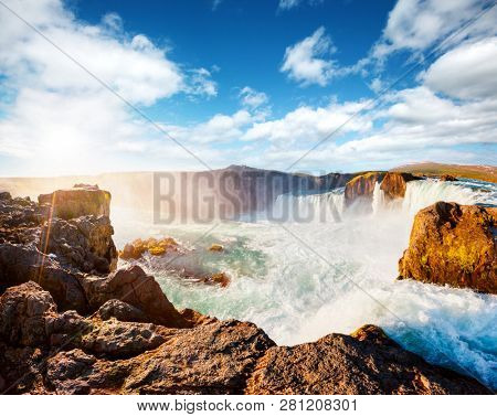 Attractive scene of powerful Godafoss cascade. Location place Bardardalur valley, Skjalfandafljot river, Iceland, Europe. Scenic image of most popular tourist attraction. Explore the beauty of earth. stock photo
