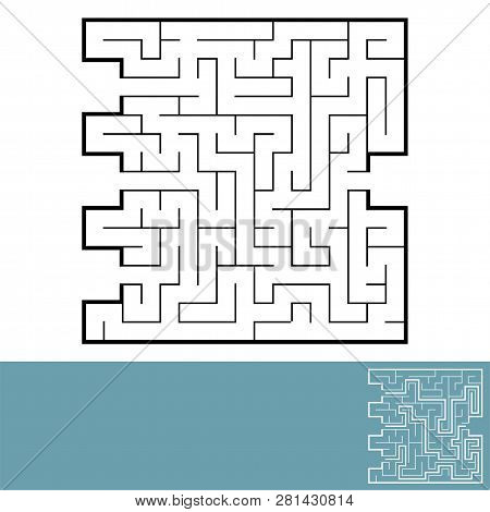 Abstract square maze. Game for kids. Puzzle for children. Labyrinth conundrum. Black flat vector illustration isolated on white background. With answer stock photo