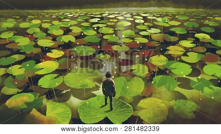 young man on giant lily pad leaf in fantasy swamp, digital art style, illustration painting stock photo