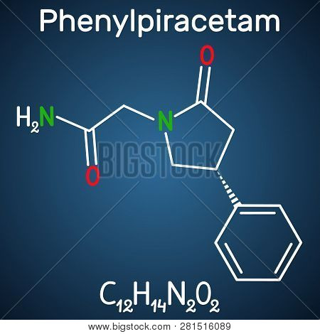 Phenylpiracetam nootropic drug molecule. It is a phenylated analog of the piracetam. Structural chemical formula on the dark blue background. Vector illustration stock photo