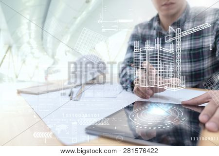 Engineer Or Architect Looking And Touching Interface With Building Design Reality Virtual Technology