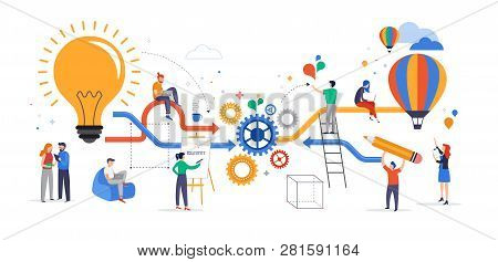 Group of young business people collaborating, solving problems, thinking about creative idea, brainstorming and teamwork concept. Flat style vector illustration stock photo