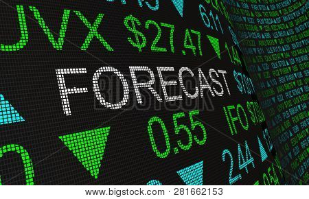 Forecast Prediction Outlook Stock Market Ticker Words 3d Illustration stock photo