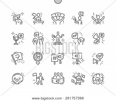 Activist Well-crafted Pixel Perfect Vector Thin Line Icons 30 2x Grid for Web Graphics and Apps. Simple Minimal Pictogram stock photo