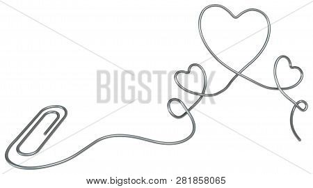 Metal paperclip Valentines office supplies isolated, 3d illustration, horizontal, over white stock photo