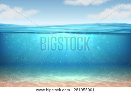 Realistic Underwater Background. Ocean Deep Water, Sea Under Water Level, Sun Rays Blue Wave Horizon