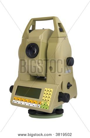 Digital geodetical instrument for precise angles and distance measurement stock photo