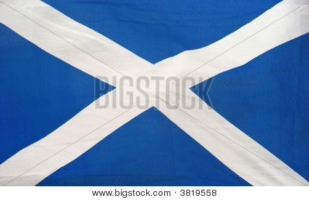 The Flag of Scotland flying outside a pub. stock photo