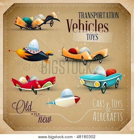 Old and New Toys   Aircraft, planes and Vehicles   EPS10 Vector Set stock photo