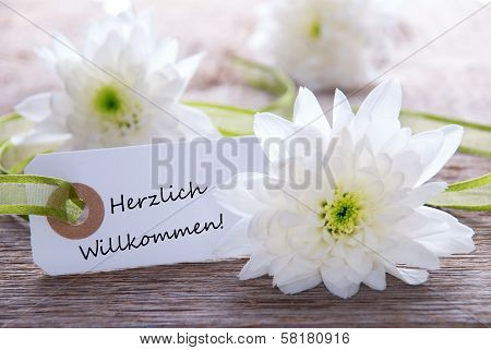 White Label with the German Words Herzlich Willkommen which means Welcome stock photo
