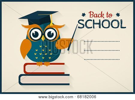Back to school. Vector card with place for text. Wise owl with books and graduate cap. Flat design. stock photo
