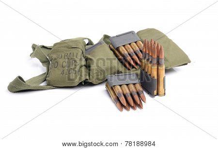 M1 Garand Clips ammunition and bandolier on white background. stock photo