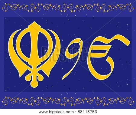 an illustration of holy sikh symbols in a greeting card format with military emblem and ek onkar on a blue purple background with stars stock photo